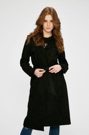 Palton negru elegant de dama din tricot cu Clapete clasice si epoleti pe umeri accesorizat cu curea in talie Answear Wild Nature