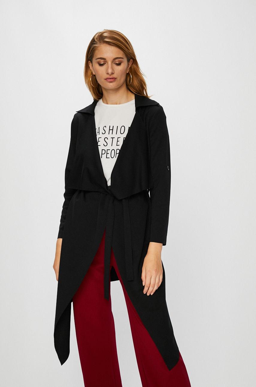 Palton casual de zi asimetric negru cu croiala dreapta realizat din material elastic si subtire Answear