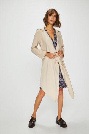 Palton dama lung casual de zi cu croiala asimetrica realizat din material neted si elastic placut la atingere Answear
