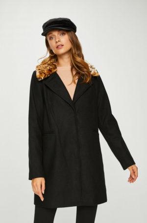 Palton negru drept lejer cu buzunare obline pentru sezonul rece de iarna marca Answear