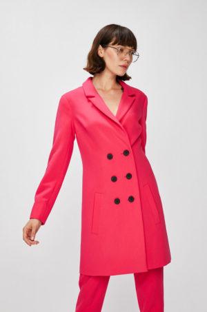 Palton lung calduros fucsia din material neted si inchidere cu sase nasturi negri supradimensionati Answear
