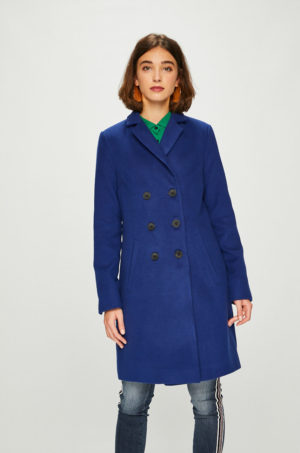 Palton albastru drept de dama lung din lana cu buzunare oblice si doua randuri de nasturi Answear