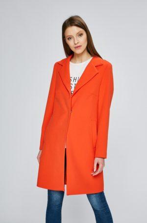 Palton dama elegant lung portocaliu din tricot cu buzunare laterale si inchidere cu nasturi Answear
