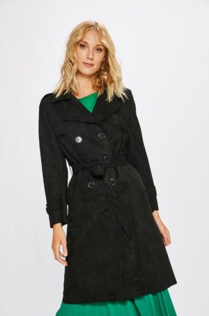 Palton negru lung de dama cu croiala casual prevazut cu epoleti pe umeri si inchidere cu nasturi Answear