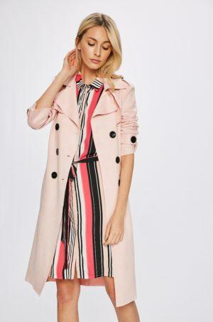 Palton elegant lung roz pal cu croiala dreapta si epoleti pe umeri pentru zile reci Answear