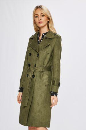 Palton dama lung verde kaki cu cordon in talie si epoleti pe umeri, ce se inchide cu nasturi si dispune de buzunare Answear