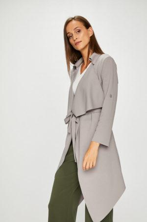 Palton asimetric gri casual pentru femei din material elastic si subtire pentru zile de tranzitie Answear