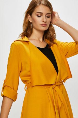Palton casual de ocazie asimetric lejer galben mustar pentru perioada de tranzitie toamna iarna Answear