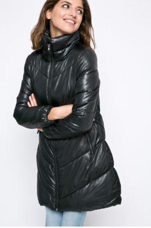 Palton dama negru lung de iarna matlasat si imblanit pe interior prevazut cu guler ridicat cu membrana pe fermoar Broadway
