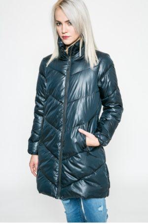 Palton dama bleumarin de iarna matlasat si imblanit pe interior prevazut cu guler ridicat cu membrana pe fermoar Broadway