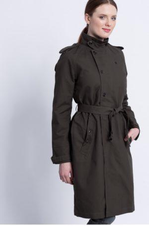 Palton dama gri inchis G-Star Raw Florence cu captuseala pe interior, amneca in raglan si inchidere cu nasture si fermoar