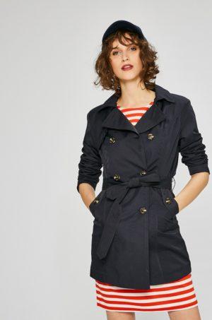 Palton office dama bleumarin foarte lejer si usor confectionat din material neted prevazut cu cordon in talie Haily's Jill
