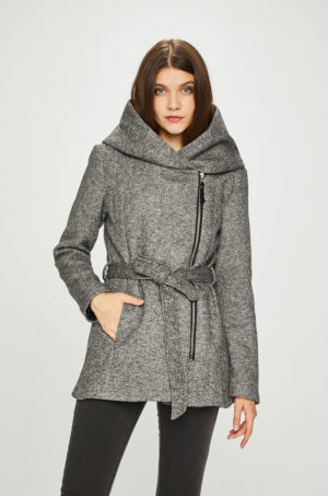 Palton dama gri casual cu gluga si inchidere cu cordon lat in talie Haily's – Palton calduros si elegant
