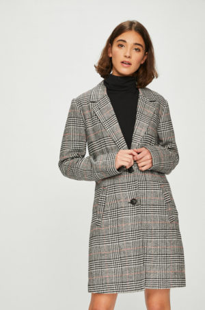 Palton gri in carouri pentru femei Jacqueline de Yong din material ornamentat calduros cu croiala lejera si moderna