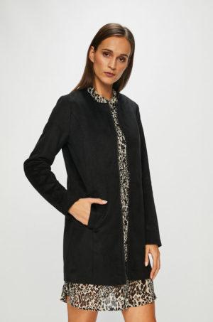 Palton dama negru lejer si lung pentru toamna captusit pe interior Jacqueline de Yong model Fifi