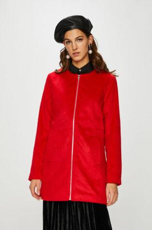 Palton rosu elegant cu fermoar pentru femei realizat din material calduros si placut la purtare Jacqueline de Yong – Palton Fifi