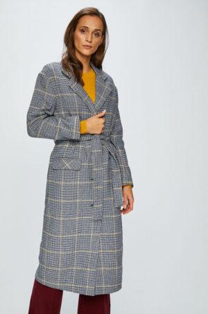 Palton dama gri lung in carouri marca Levi's din material de lana cu Fason lejer si Incheiere cu nasturi