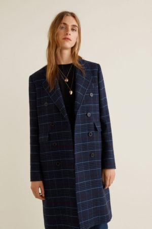 Palton drept bleumarin lung elegant in carouri cu inchidere cu nasturi Mango Adore