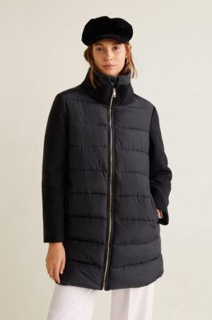 Palton dama negru oversize captusit cu guler ridicat si buzunare laterale oblice Mango Aman