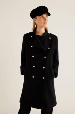 Palton negru in stil army masculin din material neted cu croiala dreapta si guler ridicati Mango Bombonco