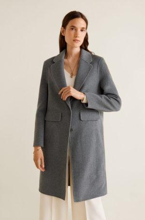 Palton oversize gri din lana foarte elegant cu croiala dreapta si tesatura texturata Mango Bosques