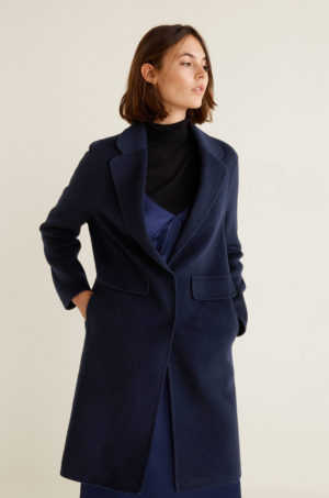 Palton oversize bleumarin din lana foarte elegant cu croiala dreapta si tesatura texturata Mango Bosques