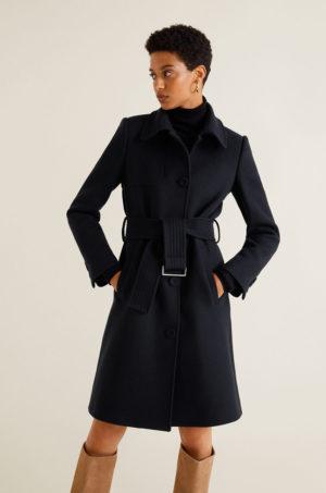 Palton calduros de iarna bleumarin din material de lana cu cordon in talie Mango Camel