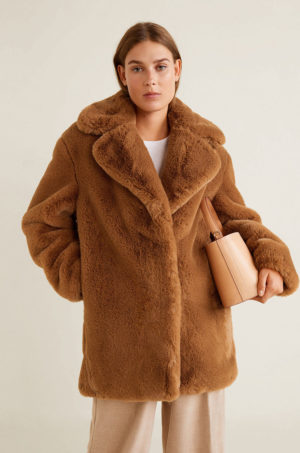 Palton dama maro inchis teddy bear din material plusat din imitatie de lana si blanita calduroasa pe interior Mango Chillyn