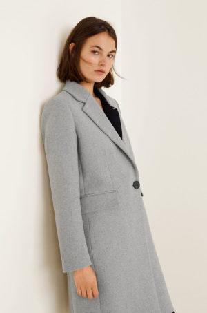 Palton dama elegant gri drept si lung realizat din material de lana fara captuseala pe interior Mango Citrus