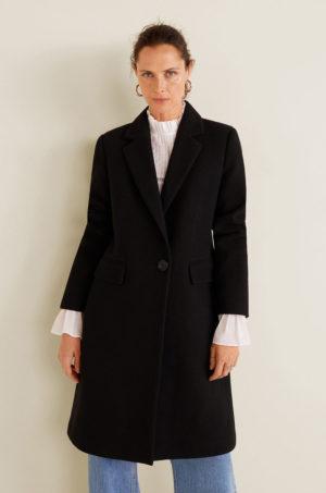 Palton dama elegant negru drept si lung realizat din material de lana fara captuseala pe interior Mango Citrus