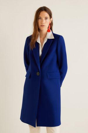 Palton dama elegant albastru drept si lung realizat din material de lana fara captuseala pe interior Mango Citrus