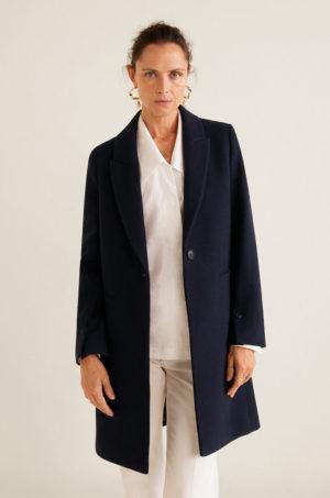 Palton office elegant drept bleumarin din lana de calitate premium captusit pe interior Mango Dali