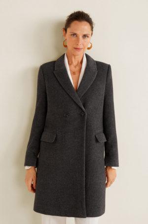 Palton office elegant drept gri inchis din lana de calitate premium captusit pe interior
