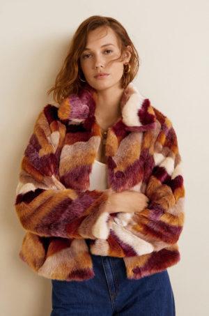 Palton dama oversize tip teddy bear din material plusat din imitatie de blana in combintie de nuante castanii Mango Fargo