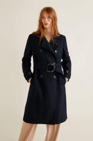 Palton dama lung elegant bleumarin din material de lana in clos cu cordon lat in talie si Maneci cu mansete incheiate Mango Funky-S