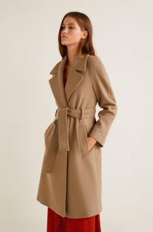 Palton bej lung elegant de ocazie realizat din lana cu cordon decorativ in talie Mango Maca