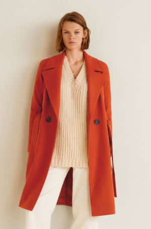 Palton portocaliu caramida lung elegant de ocazie realizat din lana cu cordon decorativ in talie Mango Maca