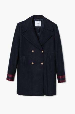 Palton dama bleumarin in stil army Militar din material cu insertii decorative la maneci Mango
