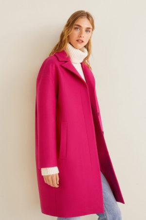 Palton dama fucsia din lana drept Mango Positano cu Linia umerilor lasata si Buzunare oblice