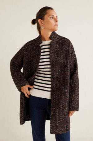 Palton dama lung confectionat din material cu lana elegant cu fir multicolor Mango Quo