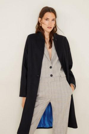 Palton calduros de iarna bleumarin cu guler ridicat si inchidere cu nasturi Mango Romulo
