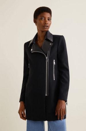 Palton dama negru office scurt cu inchidere cu fermoar pe parte confectionat din material cu insertii decorative Mango Sandy