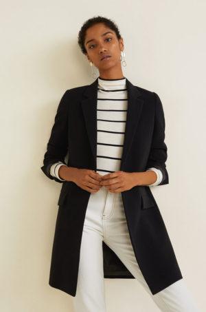 Palton negru office de zi cu buzunare oblice si clapete clasice Mango Sugus