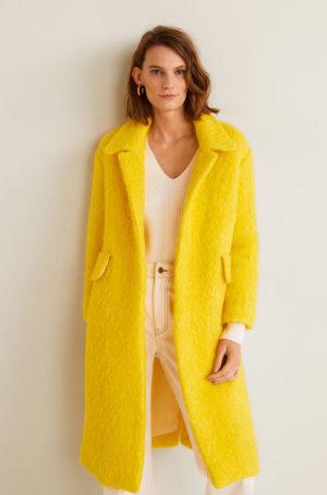 Palton lung elegant galben intens din material de lana cu textura si croiala oversize in stil cocoon Mango Sunny