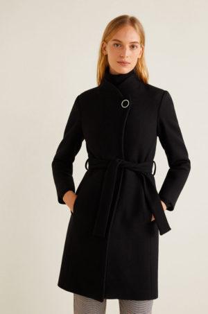 Palton negru cambrat elegant de dama din material cu lana cu Guler ridicat si inchidere cu cordon in talie Mango Tierra