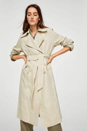 Palton lung office crem de dama cu Fason drept confectionat din material neted cu textura si Curea atasata Mangoc Tila