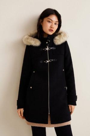 Palton negru lejer cu gluga cu blanita artificiala pentru dama, imblanit pe interior pentru un confort sporit Mango Woolperk