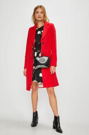 Palton rosu lung elegant cu nasturi, realizat din material de calitate gros si placut la atingere Marc O'Polo