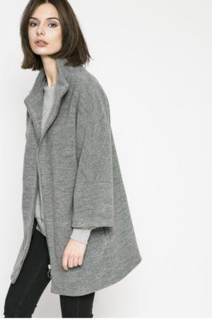 Palton gri casual pentru femei cu croiala dreapta si guler ridicat prevazut cu buzunare oblice si maneci in raglan Medicine Comfort Zone