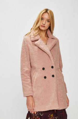 Palton roz calduros si pufos cu croiala dreapta si inchidere cu nasturi Medicine Hand Made